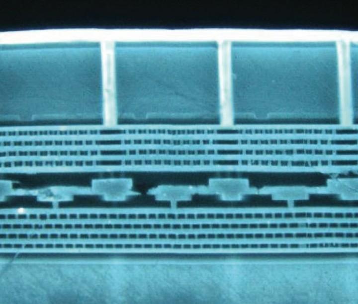Micrograph: 2-layer sensor with TSVs