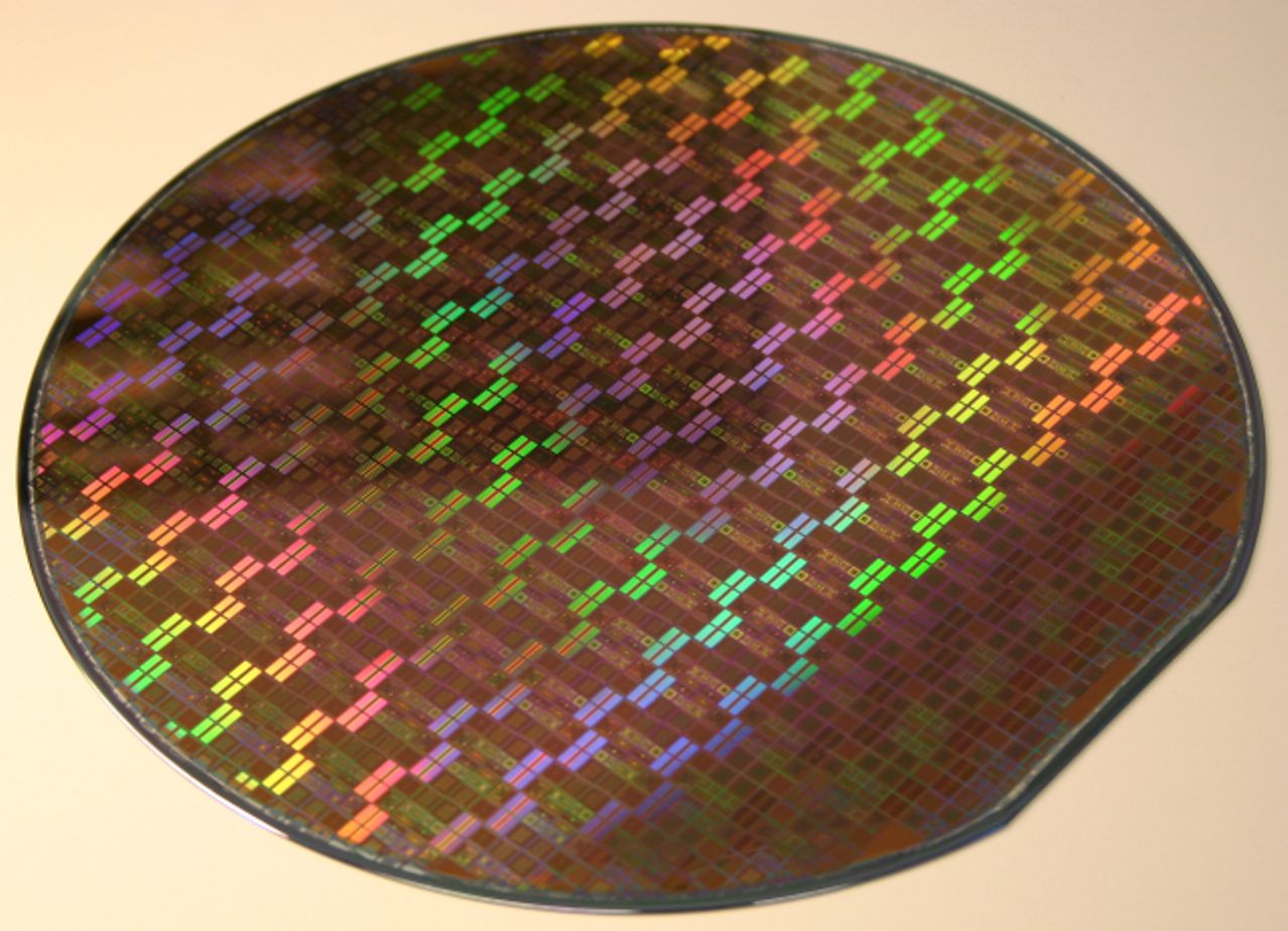 One wafer patterned with many integrated circuits
