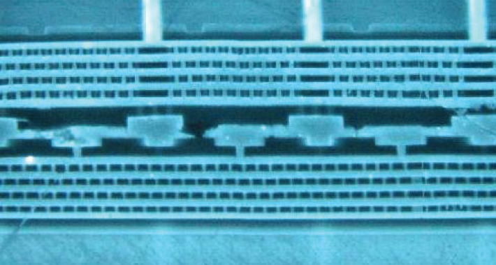 cross-section of interface between two wafers